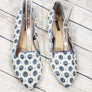 Forever 21 Blue and Off White Floral Slip On Flats